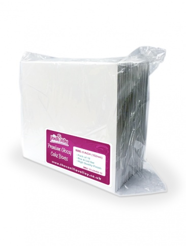 10 PACK - Premium Vanilla Valley White Glossy Cake Boxes