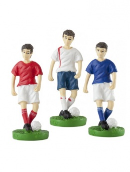 Resin Male Footballer Figure in Red, White or Blue Shirt