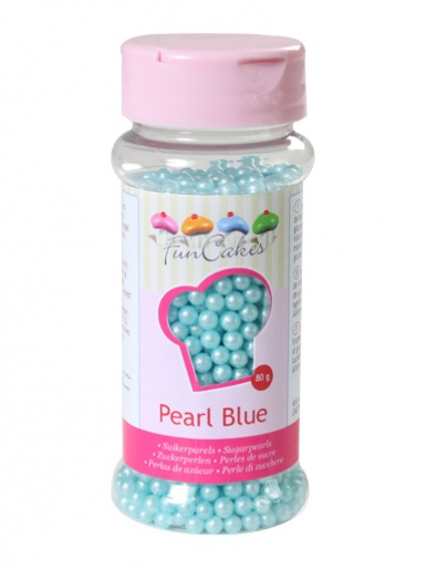 FunCakes Sugar Pearls  - Pearlescent Blue 4mm 80g
