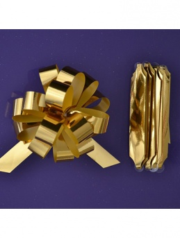 Quick Pull Cupcake Bouquet Bow 18mm - Metallic Gold