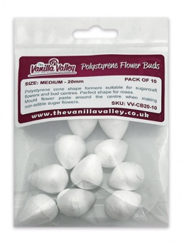 The Vanilla Valley Polystyrene Flower Buds - 20mm (Pack of 10)