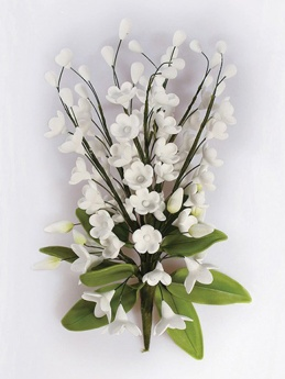 White Gumpaste Lily of the Valley Spray - cake decoration