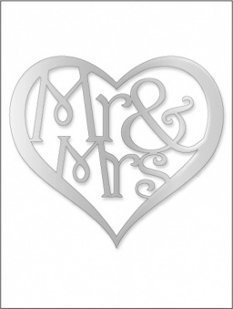 Mr & Mrs Heart Cake Topper - Small