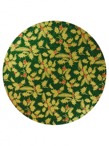 10'' Round Christmas Cake Drum - Green Holly