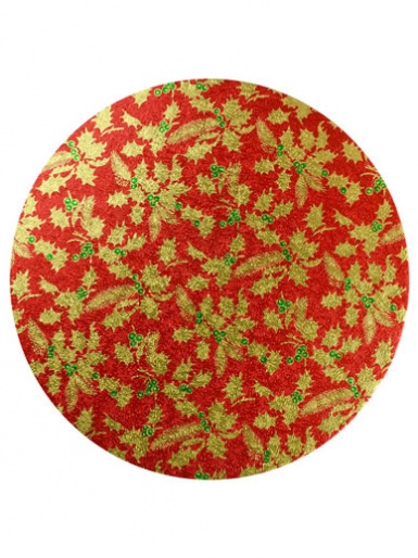 10'' Round Christmas Cake Drum - Red Holly