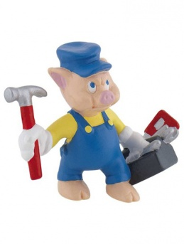 Practical Pig from ''Three Little Pigs'' - Cake Topper / Figurine