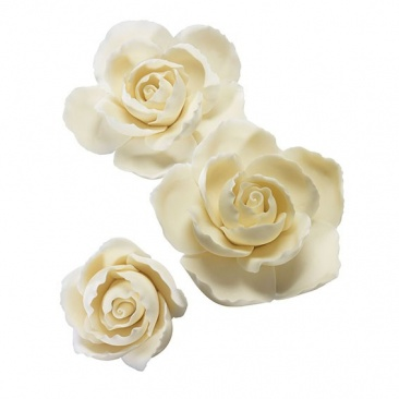 Ivory Gumpaste Rose Ruffled Edge Assortment 3 piece - Cake decoration