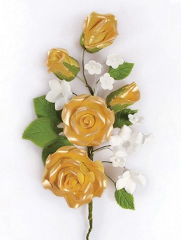 Gold Gumpaste Rose Spray 145mm