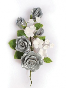 Silver Gumpaste Rose Spray 145mm
