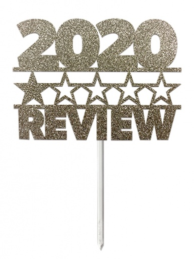 '2020 One Star Review' Silver Glitter Card Cake Topper