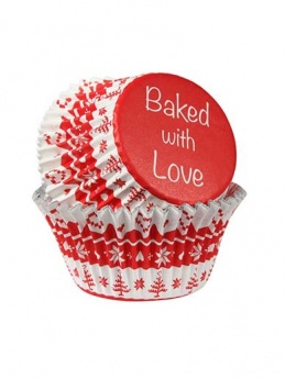 Nordic Red - Baked with Love Foil Lined Baking Cupcake Cases - Pack 25