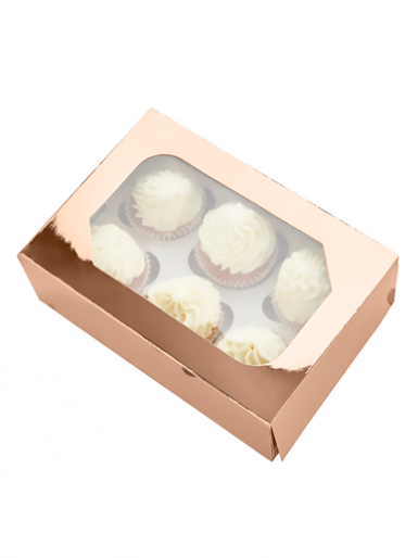 6 Metallic Rose Gold Cupcake Box, Pack of 2