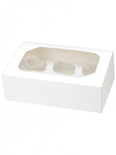 6 White Cupcake Box, Pack of 2
