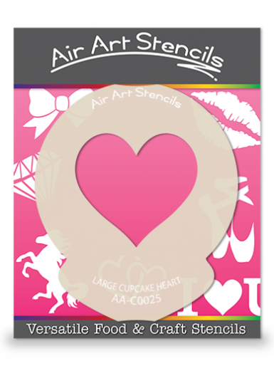 Valentines Large Cupcake Heart Cupcake Stencil