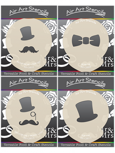 Monocle and Hat Stencils - Set of 4