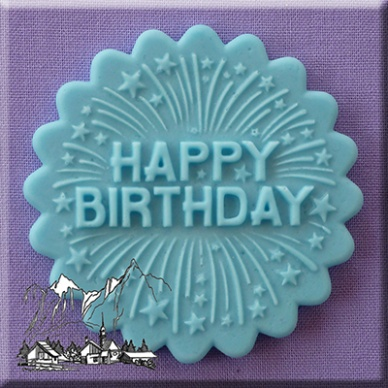 Happy Birthday Firework Cupcake Topper Silicone Mould