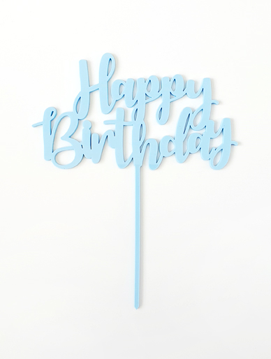 'Happy Birthday' Blue Acrylic Cake Topper