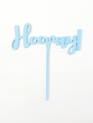 'Hooray' Blue Acrylic Cake Topper