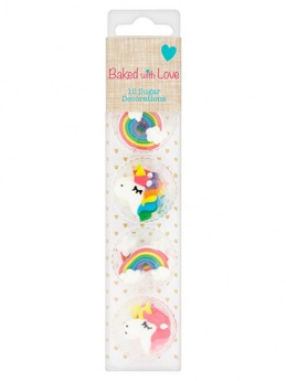 Unicorn & Rainbow Sugar Decorations by Baked with Love - Pack of 12