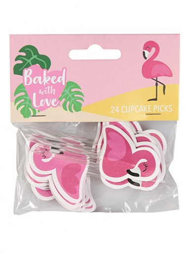 Baked with Love Flamingo Decorative Pics - Pack of 24