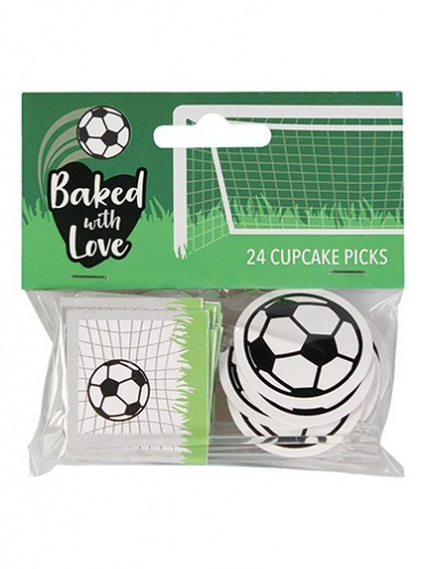 Baked with Love Football Decorative Pics - Pack of 24