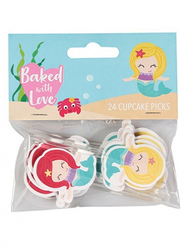 Baked with Love Mermaid Decorative Pics - Pack of 24