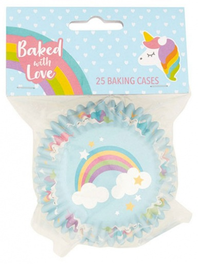 Unicorn - Baked with Love Foil Lined Baking Cupcake Cases - Pack 25