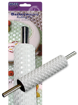 Deep Imprss Basketweave Roll Pin 10in w hndl