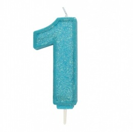 Blue Sparkle Number Candle - 1