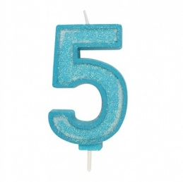 Blue Sparkle Number Candle - 5