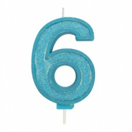 Blue Sparkle Number Candle - 6