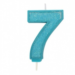 Blue Sparkle Number Candle - 7