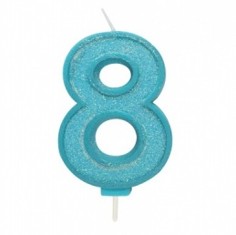 Blue Sparkle Number Candle - 8