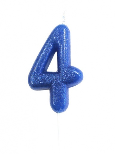 Blue Glitter Numeral Candle - 4