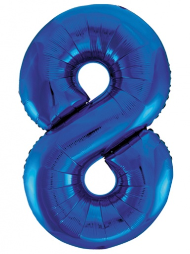 Blue Foil 34'' Balloon - Number 8