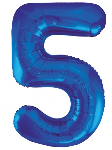 Blue Foil 34'' Balloon - Number 5