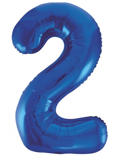 Blue Foil 34'' Balloon - Number 2
