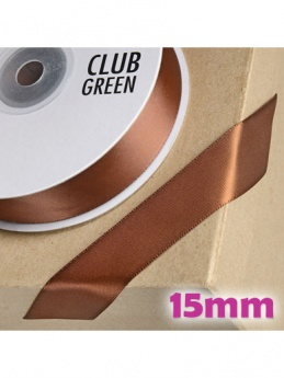Double Sided Satin Ribbon 15mm Brown