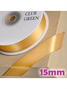 Double Sided Satin Ribbon 15mm Old Gold