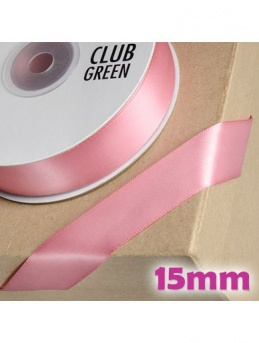 Double Sided Satin Ribbon 15mm Rose Pink