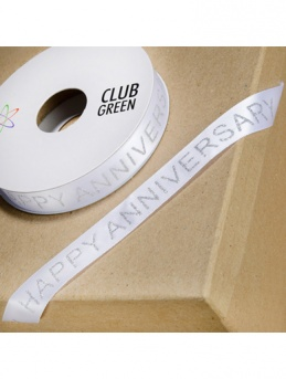 ''Happy Anniversary'' White and Silver Ribbon - 15mm x 10m