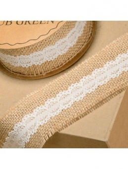 Natural Hessian Ribbon with Ivory Lace 50mm x 5m