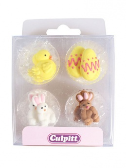 Easter Chick, Egg and Rabbit Sugar Pipings 12 Pieces