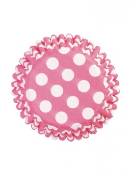 Cerise Polka Dot Baking Cases 54 Pack