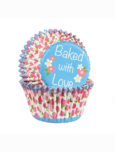 Rosebud - Baked with Love Foil Lined Baking Cupcake Cases - Pack 25