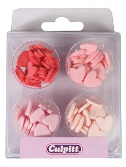 Pink Mini Hearts Sugar Pipings - Pack of 100