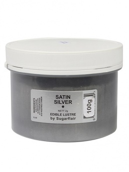 Sugarflair SATIN SILVER edible Lustre Dust Powder - BULK 100g