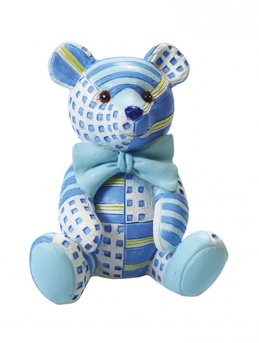 Blue Patchwork Teddy Figurine