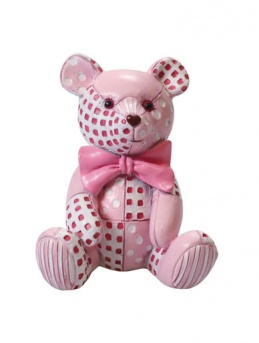 Pink Patchwork Teddy Figurine