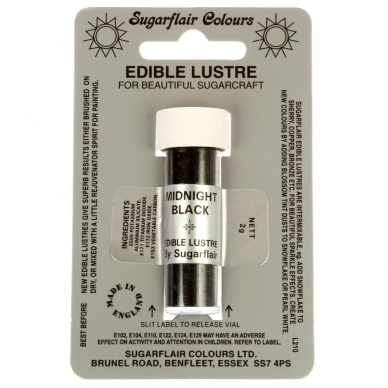 Sugarflair MIDNIGHT BLACK  Edible Lustre Dust Powder Colour